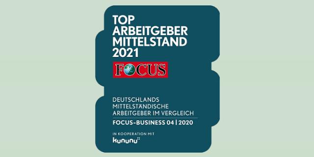 """GFR Focus Business Siegel """"Top Arbeitgeber Mittelstand 2021"""""""