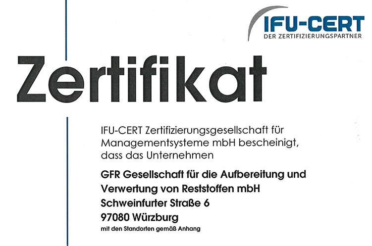 GFR – höchste Standards in Qualität, Umwelt und Arbeitssicherheit – seit Jahren bestätigt und zertifiziert